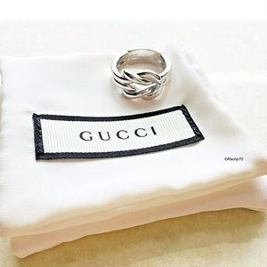 New Authentic GUCCI Grande Knot Sterling Ring